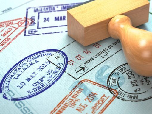Passport with visa stamps. Travel or turism concept background